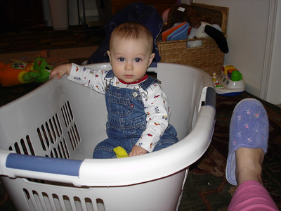 Today the laundry basket is a boat.