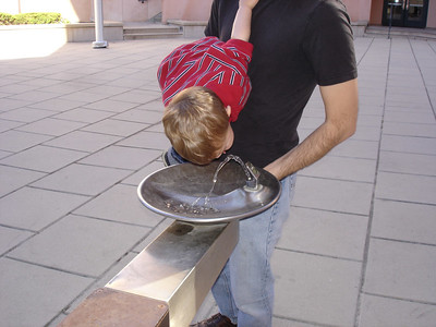 Lincoln has learned how to use a drinking fountain.
