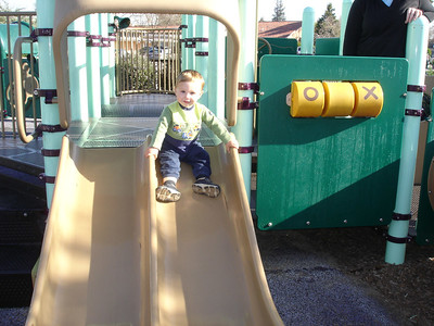 Lincoln can do the slide by himself now.