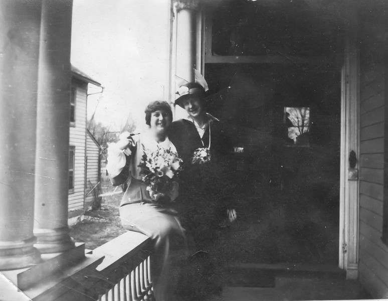 Beatrice Beach on the left, Elizabeth on the right on the porch of their home on Murray St. in Binghamton, NY