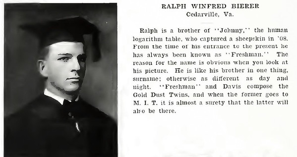 Ralph W Bierer Wm & Lee Grad yearbook 1909