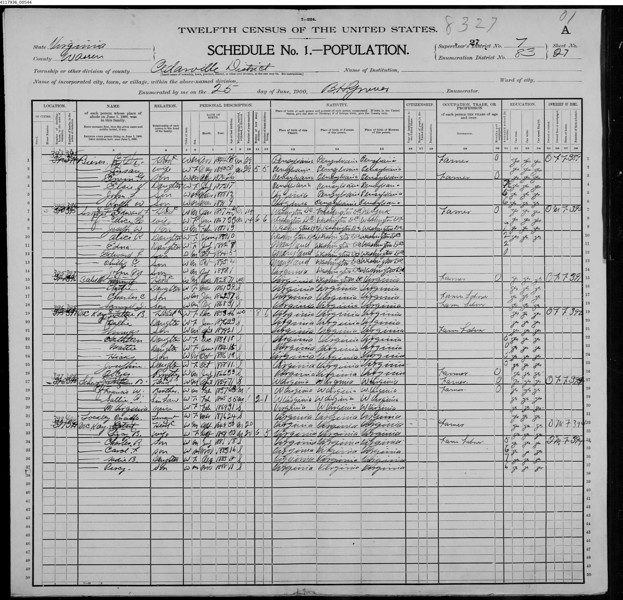 1900 Census - John Bierer family