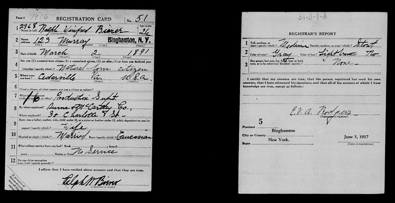 Ralph W Bierer Draft Registration form