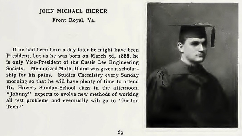John M Bierer William and Lee yearbook entry