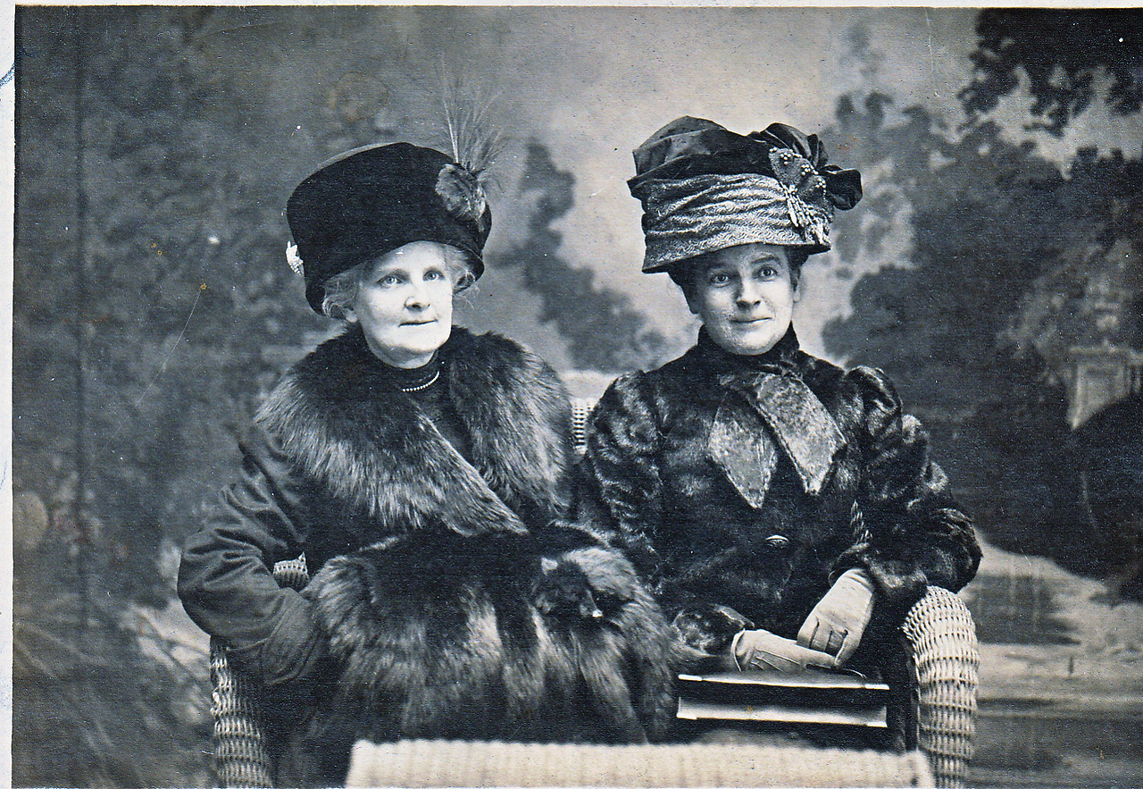 On the left of this postcard is Charlotte Roberts Treadwell. Unknown woman on the right.
