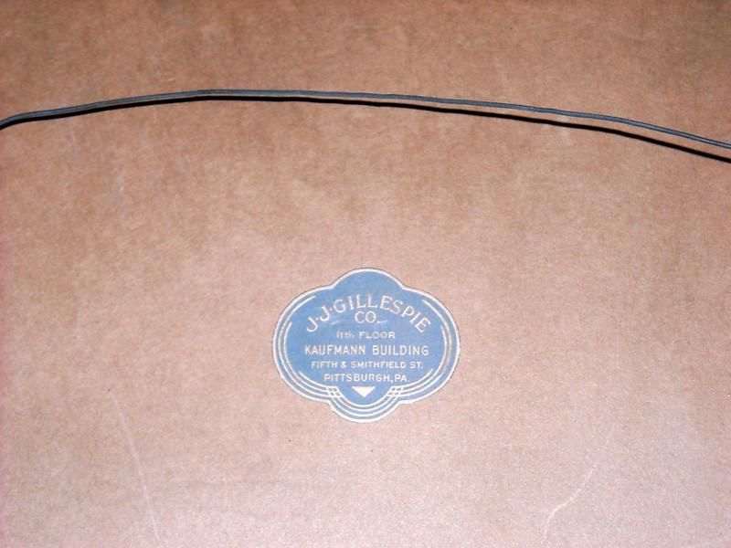 J.J. Gillespie Co. label on back #2