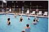 Getting ready for Aquafit Class at the Holiday Inn, 1998