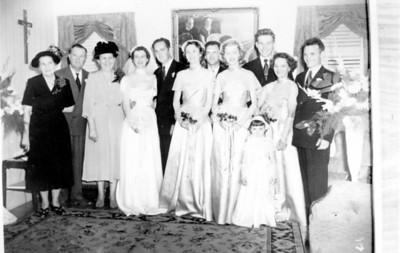 Walter 'Rip' Smock and Maria Jacob Wedding September 9, 1950 From left to right; Top row; Agnes Smock, George Jacob Sr., Bertha Jacob, Maria Jacob Smock, Walter A. Smock, Robert E. Wick, George Jacob Jr, Carl Curry Front row; Freida Wick, unknown, Sharon Curry, Daria Curry