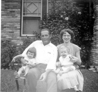 Walter A. 'Rip' Smock holding Janice Smock Maria Jacob Smock holding Jimmy Smock June 1953