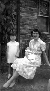Sharon Curry Maria Jacob Smock holding Janice Smock - 4 wks old