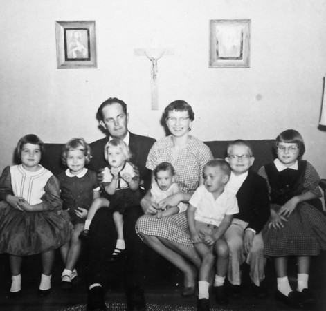 Smock Family December 1959  Rip and Maria in back front left to right; Pat, Jean, Julie, Sue, Joe, Jim, Jan