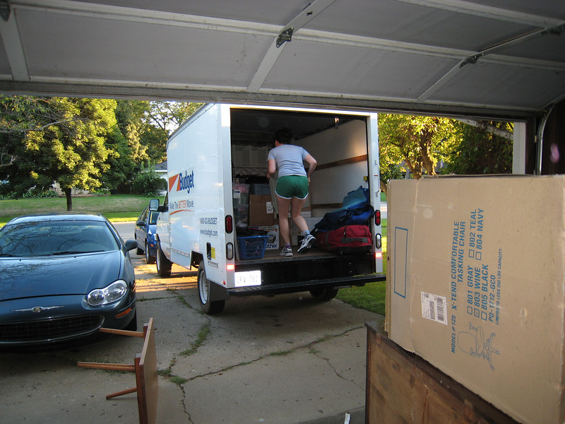 Loading the truck on Friday evening.