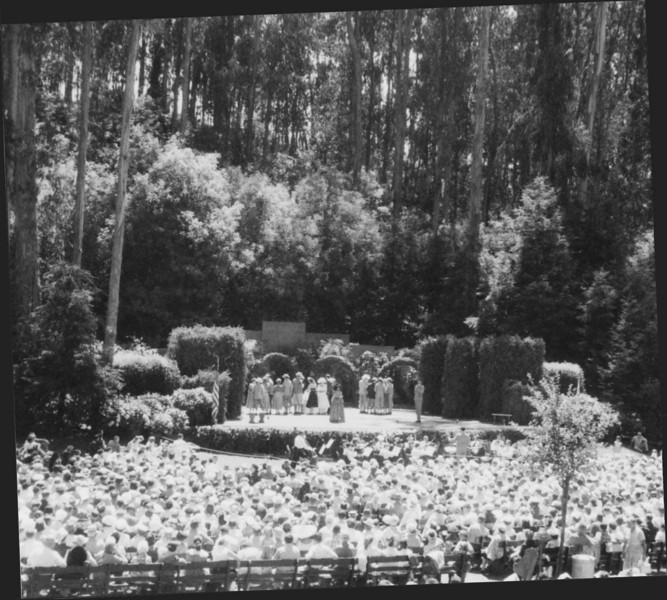 """A """"Broadway"""" musical on a Sunday at Stern Grove, 1957."""
