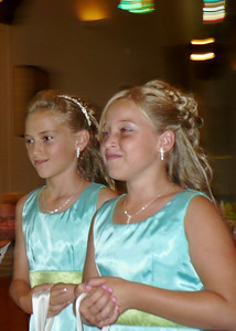Flower girls Trisha Lunde on left