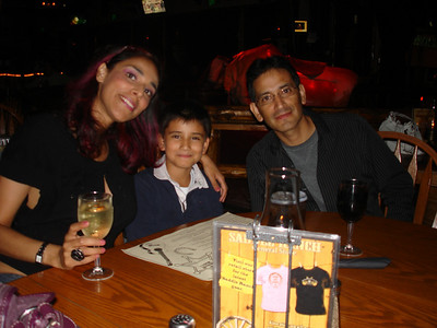 Just back from LAX first dinner at Saddle Ranch on Sunset Blvd  Aunty,Cesar and Mario August 09