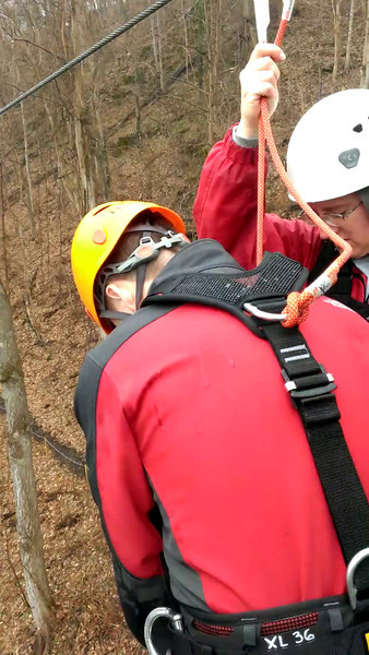 Mark poised to leap from the platform while zip lining at River Riders, Harpers Ferry, West Virginia. Digital, March 2014.