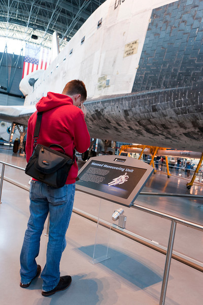 Trying to wrap his brain around how the Space Shuttle works. Dude, it's magic....just let it go. ;) Udvar-Hazy Air & Space Museum. Digital, Washington, DC, March 2014. Ed