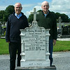 Greg and me at the gravestone of our great-grandparents (Mary Byrne's parents) and our great aunt and uncle. William (Willy) Byrne was Mary's youngest brother.  This is the cemetery of Drum Parish at St. Brigid's Church, three or four miles from the homestead.
