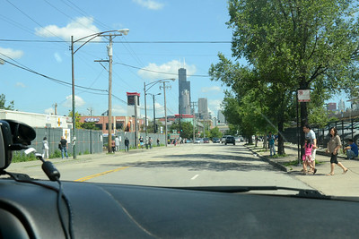 Arrival in Chicago at 11:45 am Hamilton time but it's 10:45 am Chicago time ... coming in via I90 and through Chinatown.  That's the Sears (Willis) Tower in the distance