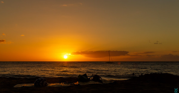 Sun set at Kihei Beach