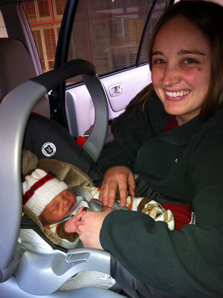 His first car trip outside the womb