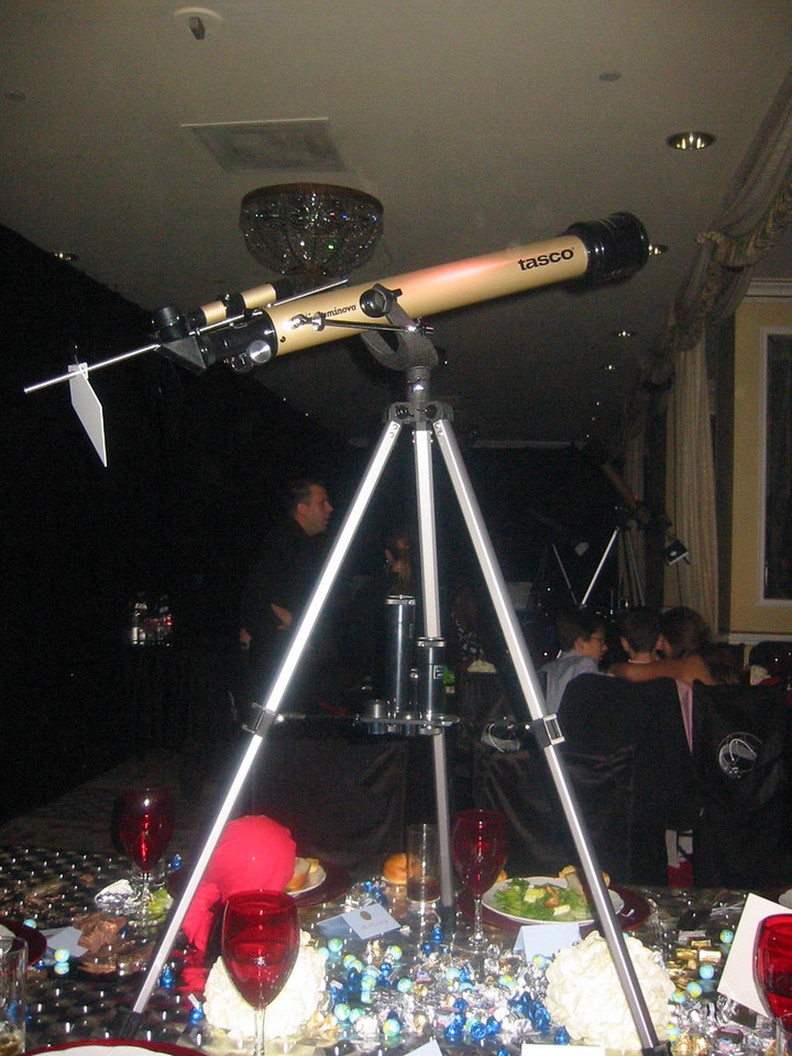 Telescope centerpieces at the kids' tables.