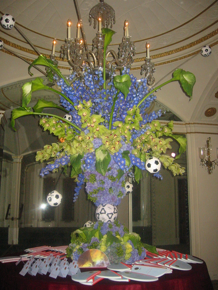 Giant Soccer themed flower arrangement