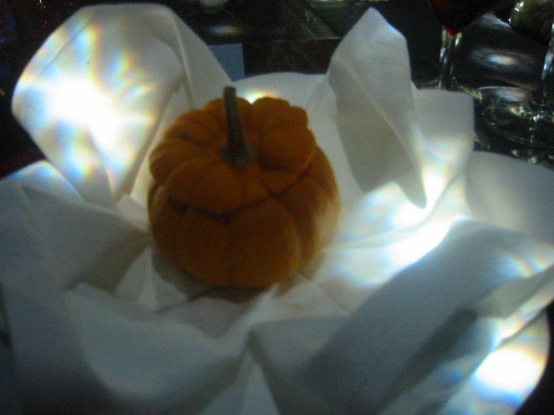 Pumpkin Soup served in a pumpkin.