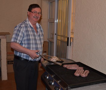 Si in his element  ... cooking Boerewors