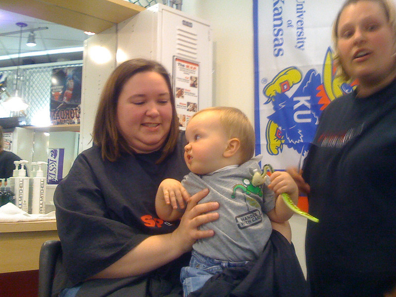 The day before the party Max went and got his first haircut, it went pretty smooth.