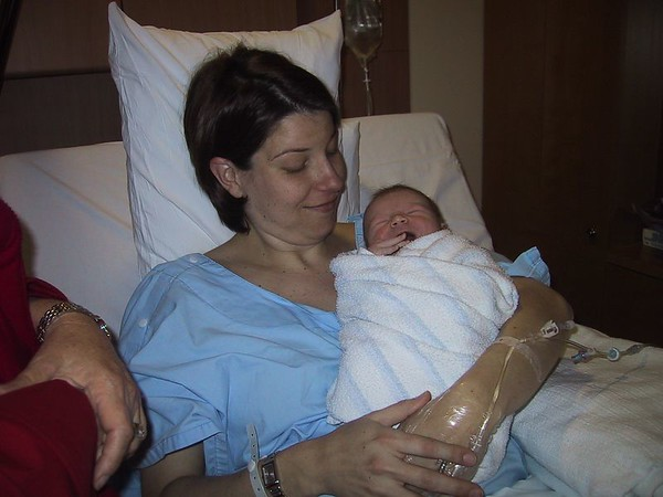 Sally with newborn Max