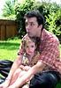 Daddy and daughter, Nana's yard, May 29