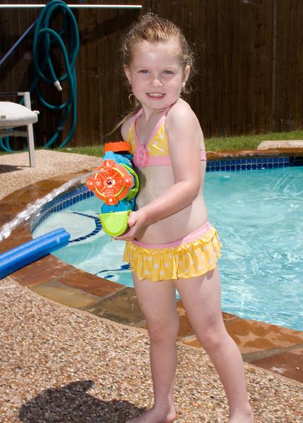 Layla shooting the squirt gun