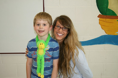 Andrew with his Kindergarten teacher, Carly Boutelle