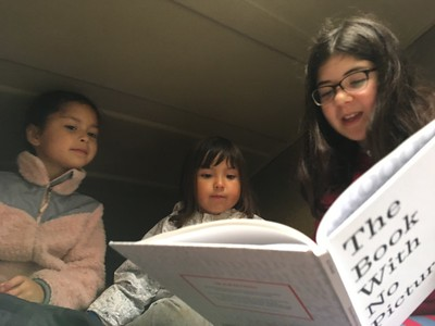 storytime in the van with Bonnie & Luna