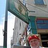 Pat at Caffe Trieste (one of our favorite places), with a picture of same - North Beach Festival 2009