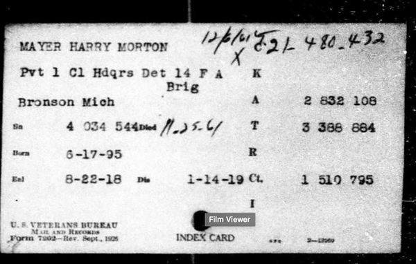 Harry Mayer Military Index Card