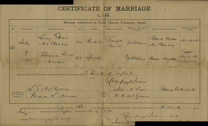 Wedding Certificate for Florence Louise Manson and Leroy E. McChesney, July 19, 1898.  Note: the ages are reversed.  Florence was a year older that Leroy.