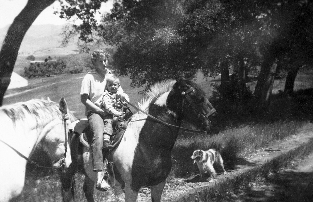 Janice Patchett with Scotty (Leroy Scott McChesney).  The horse on the left is Rainbow and the dog is Teddy.