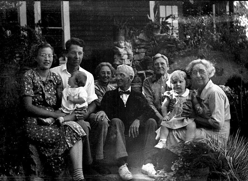 This image was scanned in from a badly worn negative.  From the Left: Grace and Leroy E McChesney Jr, with Charlotte, the couple in the center I think it could Albert Hall McChesney and his wife, Arminta.  Leroy E and Emma M McChesney with my sister Martha