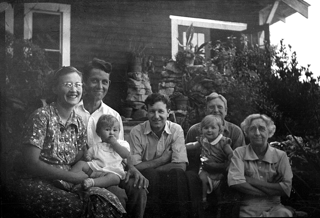This image was scanned in from a badly worn negative.  From the Left: Grace Scott and Leroy E McChesney Jr, with Charlotte, My father, Homer Manson McChesney. Leroy E and Emma M McChesney with my sister Martha.  This photo was taken shortly before the passing of Leroy E. McChesney Sr., in September 1937