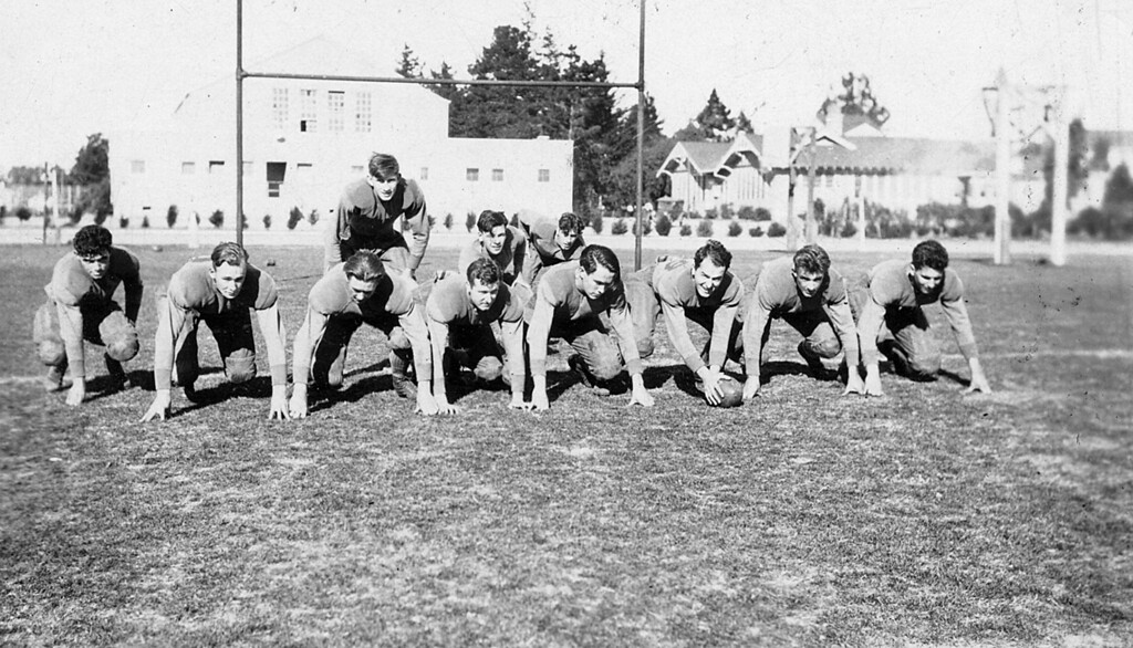 Homer McChesney played as a takle on the Santa Maria Junior College football team he is fifth from the right.  He Played both seasons 1928 1929