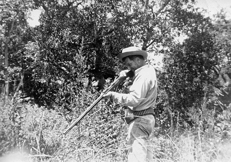 Homer McChesney on the ranch doing his best immatation of Davey Crockett.  The rifle, I believe came from the The Philippine–American War (1899 - 1902), From when Leroy E. McChesney was a captain in the Alameda Gard in 1892.  Returning troop ships docked at Yokohama where Soldiers given rest and   Relaxation prior to returning to the United States.  Florence and Leroy McChesney as well as Emma Patchett hosted the returning troops.