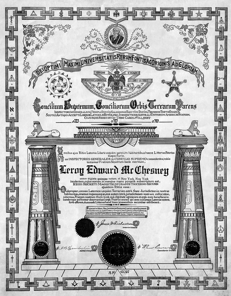 Leroy E. McChesney was a 32nd degree Mason, a member of the order in New York state.  Ok, now we have a litte discrepancy here.  In October 1909, the club gave Leroy a silver cigar humidor and matching silver cups and tray.  So how did he make it from Yokohama to New Jersey, set up a house and in the same month, have a Manson's certificate?