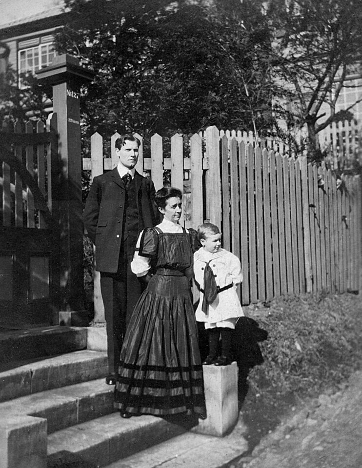 Leroy Edward, Emma Minerva and Homer Manson McChesney about 1907, at the Foreign Settlement in Yokohama, Japan<br /> The sign on the post indictes: Top #127, Bottom  L.E. McChesney