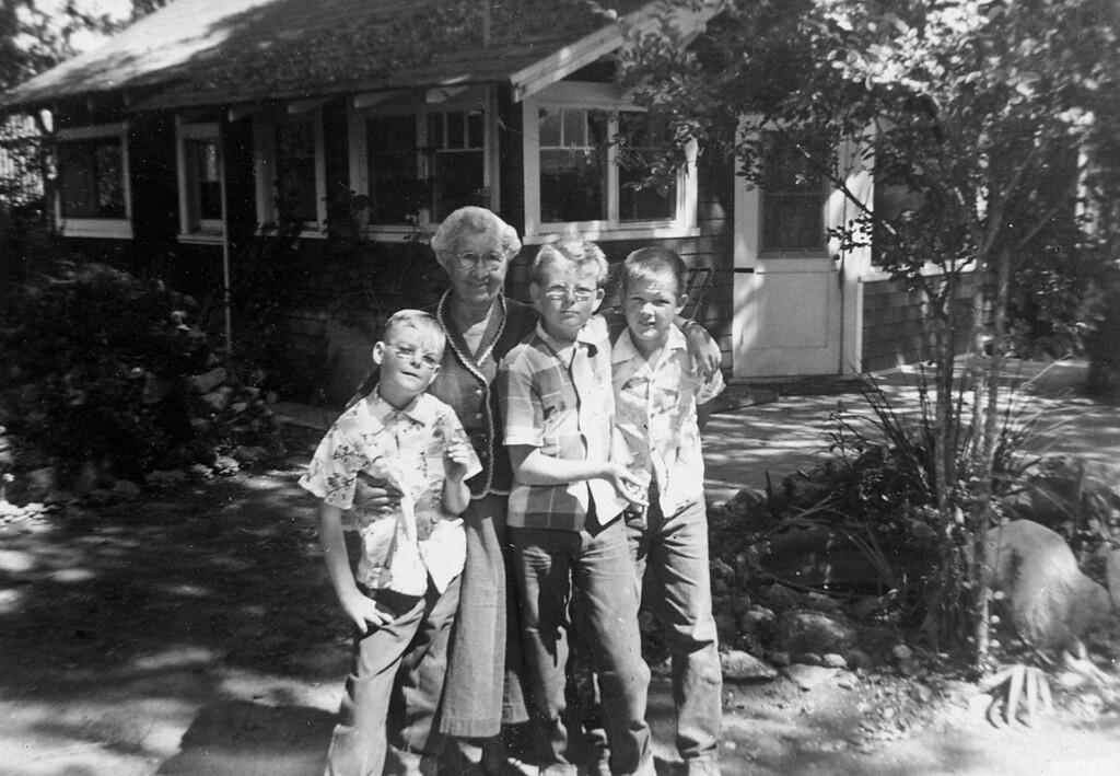 Emma McChesney with her grandsons Marc, Mike and Bo.  1954???