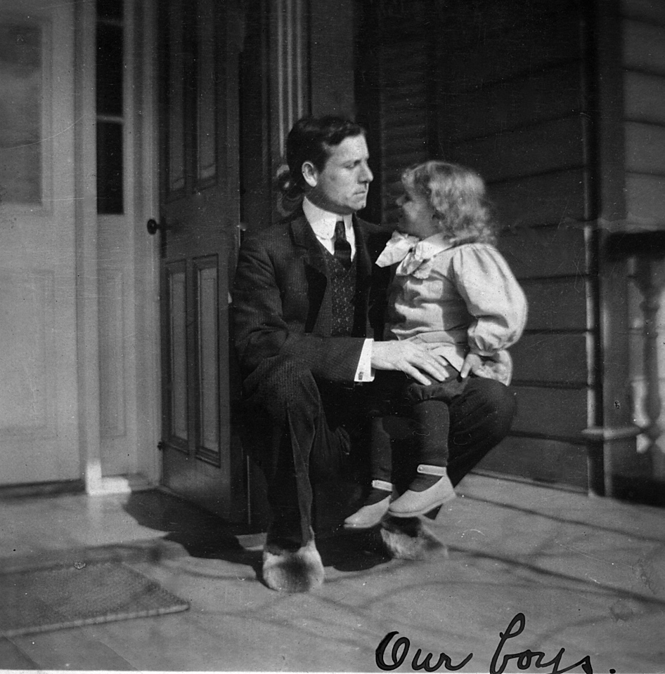 "Leroy Edward and Homer Manson McChesney, Yokohama, Japan ~1906.  Love the shoes on Granddad.  The ""our boys"" I believe to be writen by Emma Patchett McChesney."