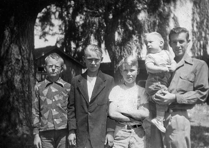 The McChesney cousins, from left to right: Michael Manson, Edward Watson, Harold Manson, Leroy Scot, and Andrew Friend.