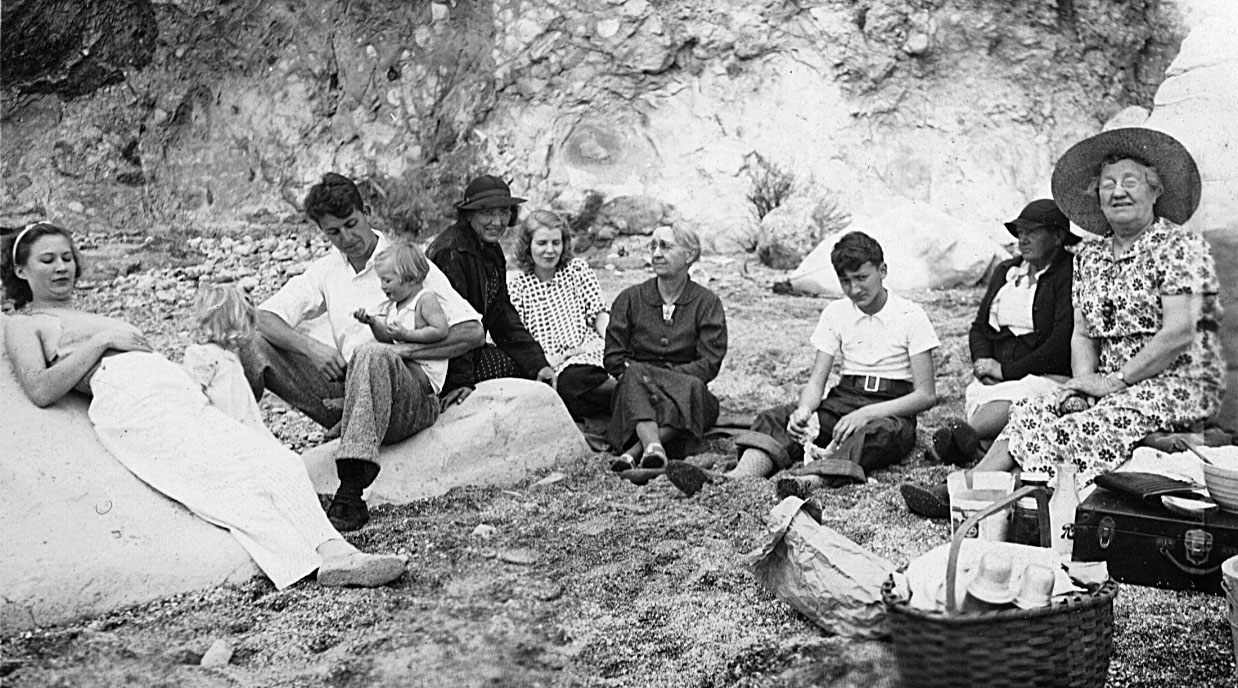 A day at the beach: Aunt Grace, Martha, Uncle Leroy with Charlotte, Mrs Libby, Ruth McChesney, Emma Patchett McChesney, David Libby, Aunt Birdie (Burtha Mabel Patchett Weir), Aunt Allie (Mary Alice Patchett Mason).  The picture had to be taken just before May 1938 as Ruth McChesney appears to be pregnant. with Kathy.  Kathy only lived for 24 hours.