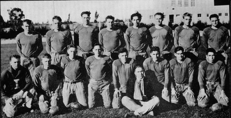 Homer Manson McChesney, year 1929, tackle for Santa Maria Junior College.  Top row, 4th from left.  He was also the class president during the second semester and a member of the Drama Club.